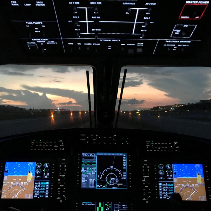 Pilatus Training night time view